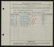 Entry card for Simon, Sidney for the 1929 May Show.