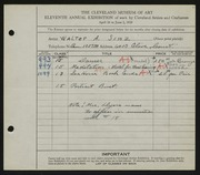 Entry card for Sinz, Walter A., and Dyer, Nora E. for the 1929 May Show.