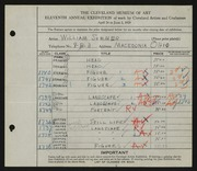 Entry card for Sommer, William for the 1929 May Show.