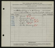 Entry card for Soper, William D., and Tiberg, Wiktor for the 1929 May Show.