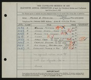 Entry card for Spencer, Meade A. (Meade Ashley), and Rowley, Charles B. for the 1929 May Show.