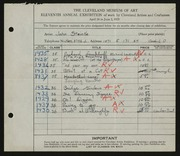 Entry card for Steinke, John for the 1929 May Show.