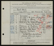 Entry card for Stoll, Rolf, and Dyer, Nora E. for the 1929 May Show.