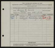 Entry card for Suchy, Arthur B. for the 1929 May Show.