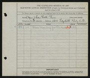 Entry card for Tarr, Lida Foote for the 1929 May Show.