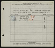 Entry card for Throckmorton, Mrs. Archibald H. for the 1929 May Show.