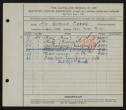 Entry card for Tiberg, Gunhild for the 1929 May Show.