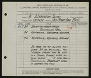 Entry card for Tripp, B. Ashburton for the 1929 May Show.