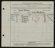 Entry card for Ulen, Jean Grigor for the 1929 May Show.