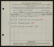 Entry card for Vorpe, Edwin A. for the 1929 May Show.