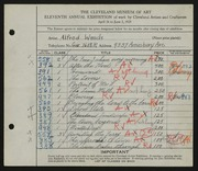 Entry card for Wands, Alfred J. for the 1929 May Show.