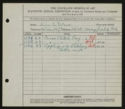 Entry card for Ward, Lucy S. for the 1929 May Show.