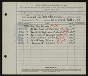 Entry card for Westbrook, Lloyd L. for the 1929 May Show.