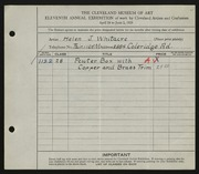 Entry card for Whitacre, Helen J. for the 1929 May Show.