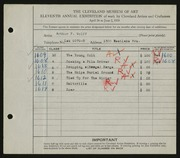 Entry card for Wolff, Arthur F. for the 1929 May Show.