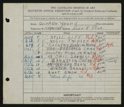 Entry card for Young, Jay Quinter for the 1929 May Show.