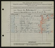 Entry card for Adomeit, George G. for the 1930 May Show.