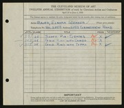 Entry card for Baird, Elnora Weaver for the 1930 May Show.