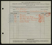Entry card for Baker, F. C. for the 1930 May Show.