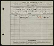 Entry card for Barkley, Maie Watkins for the 1930 May Show.