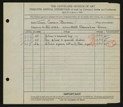 Entry card for Barron, Jane Carson for the 1930 May Show.