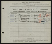 Entry card for Beatty, Richard R. for the 1930 May Show.