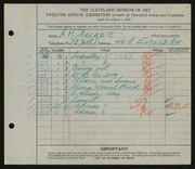 Entry card for Becker, A. H.  for the 1930 May Show.