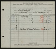 Entry card for Beckwith, Ada Bell for the 1930 May Show.