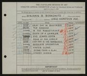 Entry card for Berkowitz, Benjamin B. for the 1930 May Show.