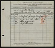 Entry card for Bill, Fred R. for the 1930 May Show.