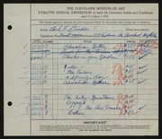 Entry card for Binder, Carl for the 1930 May Show.