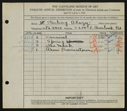Entry card for Blazy, Sterling for the 1930 May Show.