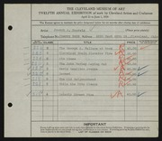 Entry card for Boersig, Joseph A. for the 1930 May Show.