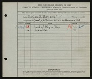 Entry card for Bonsteel, Marion E. for the 1930 May Show.