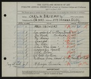 Entry card for Broemel, Carl William for the 1930 May Show.