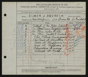 Entry card for Brubeck, Elmer J. for the 1930 May Show.