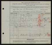 Entry card for Burrows, Thelma M. for the 1930 May Show.