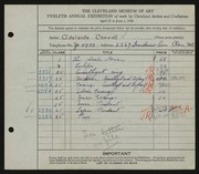 Entry card for Carroll, Adelaide for the 1930 May Show.
