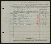 Entry card for Case, R.C. for the 1930 May Show.