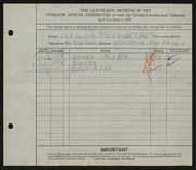Entry card for Cass, Caroline Pickands for the 1930 May Show.