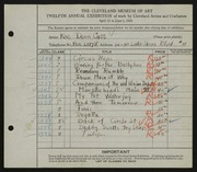 Entry card for Cass, Katherine Dorn for the 1930 May Show.