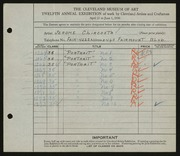 Entry card for Chircosta, Jerome  for the 1930 May Show.