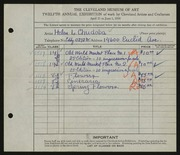 Entry card for Chudoba, Helen L. for the 1930 May Show.