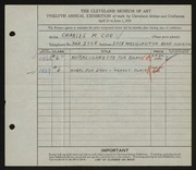 Entry card for Coe, Charles Martin for the 1930 May Show.