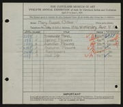 Entry card for Collins, Mary Susan for the 1930 May Show.