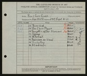 Entry card for Condit, Paul Carr for the 1930 May Show.