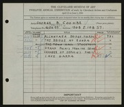 Entry card for Coombe, George B. for the 1930 May Show.