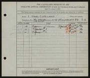 Entry card for Copeland, L. Harl for the 1930 May Show.