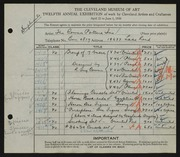 Entry card for Cowan Potters, Inc., and Shaw, Elsa Vick; Gregory, Waylande; Cowan, Reginald Guy  for the 1930 May Show.