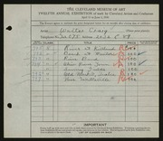 Entry card for Craig, Walter for the 1930 May Show.